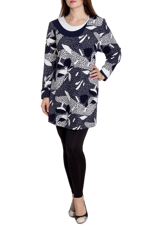 БлузкаБлузки<br>Удлиненная блузка с длинными рукавами. Модель выполнена из мягкого трикотажа. Отлиный выбор для повседневного гардероба. Ростовка изделия 164-170 см.  В изделии использованы цвета: синий, белый  Рост девушки-фотомодели 180 см.<br><br>Горловина: С- горловина<br>По материалу: Вискоза,Трикотаж<br>По рисунку: С принтом,Цветные<br>По сезону: Весна,Зима,Лето,Осень,Всесезон<br>По силуэту: Полуприталенные<br>По стилю: Повседневный стиль<br>Рукав: Длинный рукав<br>Размер : 60,62,66,70,74,76,78<br>Материал: Трикотаж<br>Количество в наличии: 7