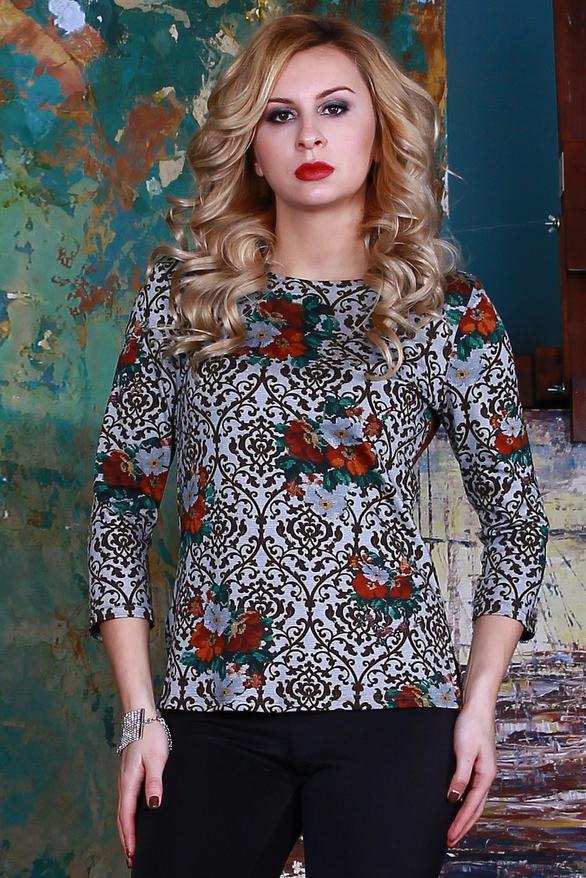 БлузкаБлузки<br>Красивая блуза из полушерстяного трикотажного полотна прямого силуэта с небольшими разрезами по бокам, рукав втачной 3/4.   Длина изделия от 59 см до 62 см , в зависимости от размера.  Цвет: голубой, коричневый, оранжевый, зеленый  Рост девушки-фотомодели 175 см<br><br>Горловина: С- горловина<br>По материалу: Трикотаж<br>По рисунку: Абстракция,Растительные мотивы,С принтом,Цветные,Цветочные<br>По сезону: Весна,Зима,Лето,Осень,Всесезон<br>По силуэту: Полуприталенные<br>По стилю: Повседневный стиль<br>Рукав: Рукав три четверти<br>Размер : 42<br>Материал: Джерси<br>Количество в наличии: 1