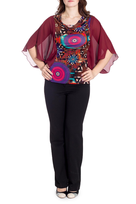 БлузкаБлузки<br>Нарядная блузка с шифоновыми рукавами. Модель выполнена из приятного материала. Отличный выбор для любого случаяВ изделии использованы цвета: бордовый и др.Рост девушки-фотомодели 180 см.<br><br>Рукав: Рукав три четверти<br>Горловина: Качель<br>Материал: Трикотаж,Шифон<br>Рисунок: Абстракция,С принтом,Цветные<br>Сезон: Весна,Всесезон,Зима,Лето,Осень<br>Силуэт: Прямые<br>Стиль: Нарядный стиль<br>Размер : 48-50,64-66<br>Материал: Холодное масло + Шифон<br>Количество в наличии: 2
