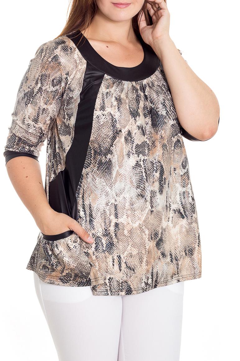БлузкаБлузки<br>Стильная женская блузка с округлой горловиной и рукавами 3/4. Карманы. Модель станет прекрасной составляющей Вашего модного гардероба.  В изделии использованы цвета: черный, бежевый и др.  Рост девушки-фотомодели 180 см<br><br>Горловина: С- горловина<br>По материалу: Трикотаж<br>По рисунку: Рептилия,С принтом,Цветные<br>По сезону: Весна,Зима,Лето,Осень,Всесезон<br>По силуэту: Свободные<br>По стилю: Повседневный стиль<br>По элементам: С декором,С карманами,С манжетами<br>Рукав: Рукав три четверти<br>Размер : 48,52<br>Материал: Холодное масло<br>Количество в наличии: 2