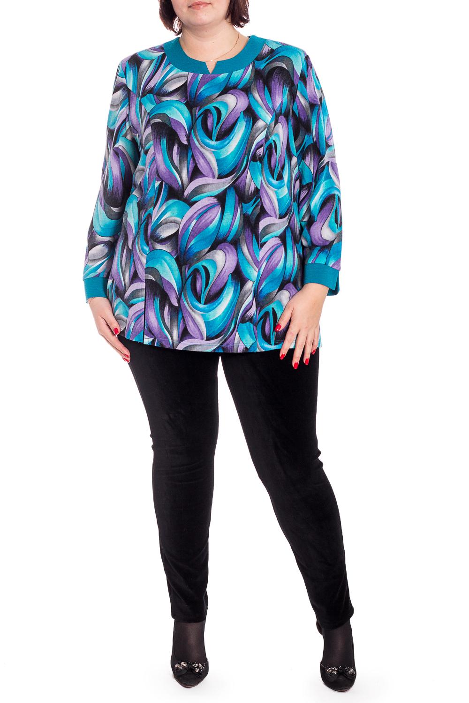 БлузкаБлузки<br>Красивая блузка с фигурной горловиной и длинными рукавами. Модель выполнена из приятного трикотажа. Отличный выбор для повседневного гардероба.  В изделии использованы цвета: голубой, сиреневый и др.  Рост девушки-фотомодели 176 см.<br><br>Горловина: Фигурная горловина<br>По материалу: Трикотаж<br>По образу: Город,Свидание<br>По рисунку: С принтом,Цветные<br>По сезону: Весна,Зима,Лето,Осень,Всесезон<br>По силуэту: Прямые<br>По стилю: Повседневный стиль<br>По элементам: С манжетами<br>Рукав: Длинный рукав<br>Размер : 62<br>Материал: Трикотаж<br>Количество в наличии: 1