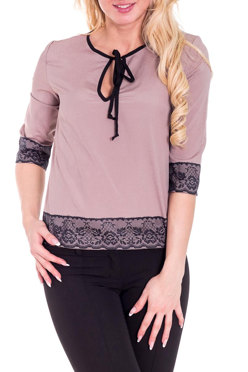 БлузкаБлузки<br>Замечательная блузка с рукавами 3/4. Модель выполнена из приятного материала. Отличный выбор для любого случая.  Цвет: бежевый, черный  Рост девушки-фотомодели 170 см<br><br>Горловина: С- горловина<br>Застежка: С завязками<br>По материалу: Блузочная ткань,Тканевые<br>По образу: Город,Свидание<br>По сезону: Весна,Всесезон,Зима,Лето,Осень<br>По силуэту: Свободные<br>По стилю: Нарядный стиль,Повседневный стиль<br>По элементам: С декором<br>Рукав: Рукав три четверти<br>По рисунку: Цветные<br>Размер : 40-42<br>Материал: Блузочная ткань<br>Количество в наличии: 1