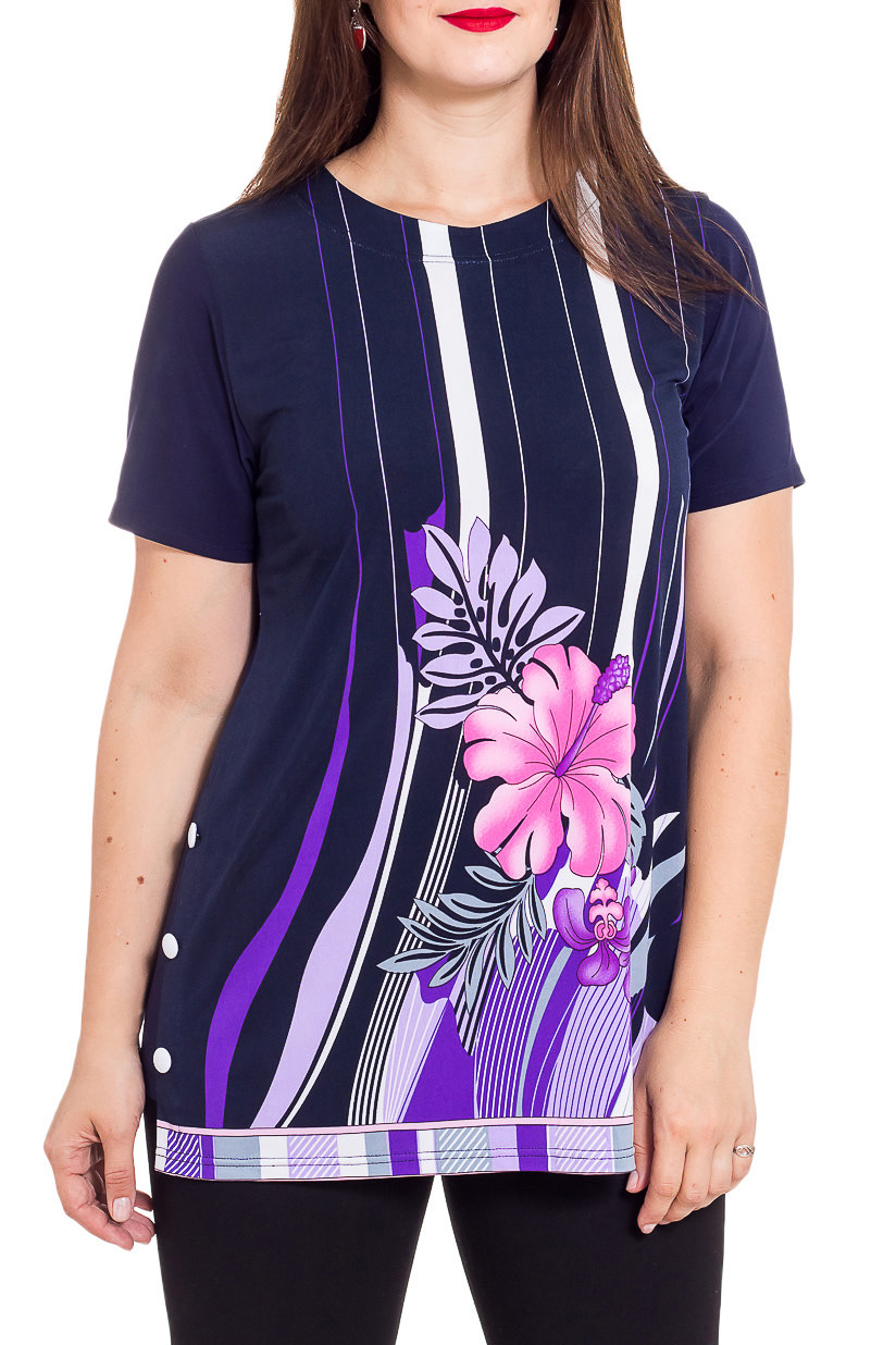 БлузкаБлузки<br>Цветная блузка с ярким принтом и короткими рукавами. Модель выполнена из приятного материала. Отличный выбор для любого случая.  В изделии использованы цвета: синий, сиреневый, фиолетовый и др.  Рост девушки-фотомодели 180 см<br><br>Горловина: С- горловина<br>По материалу: Вискоза,Трикотаж<br>По рисунку: С принтом,Цветные<br>По сезону: Весна,Зима,Лето,Осень,Всесезон<br>По силуэту: Полуприталенные<br>По стилю: Повседневный стиль,Летний стиль<br>Рукав: Короткий рукав<br>Размер : 48,50,52,62<br>Материал: Холодное масло<br>Количество в наличии: 6