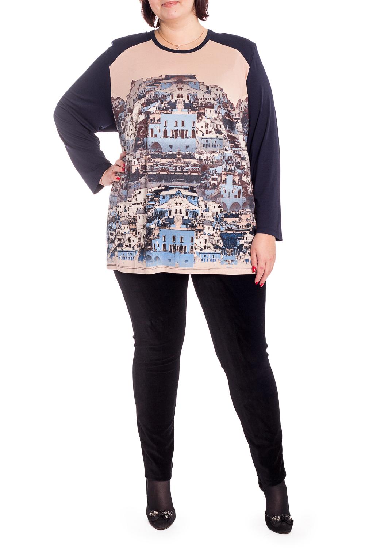 БлузкаБлузки<br>Красивая блузка с круглой горловиной и длинными рукавами. Модель выполнена из приятного трикотажа. Отличный выбор для повседневного гардероба.  В изделии использованы цвета: синий, бежевый и др.  Рост девушки-фотомодели 176 см<br><br>Горловина: С- горловина<br>По материалу: Вискоза,Трикотаж<br>По рисунку: С принтом,Цветные<br>По сезону: Весна,Зима,Лето,Осень,Всесезон<br>По силуэту: Прямые<br>По стилю: Повседневный стиль<br>Рукав: Длинный рукав<br>Размер : 64,66,68,70,72,74,76,78<br>Материал: Вискоза<br>Количество в наличии: 11