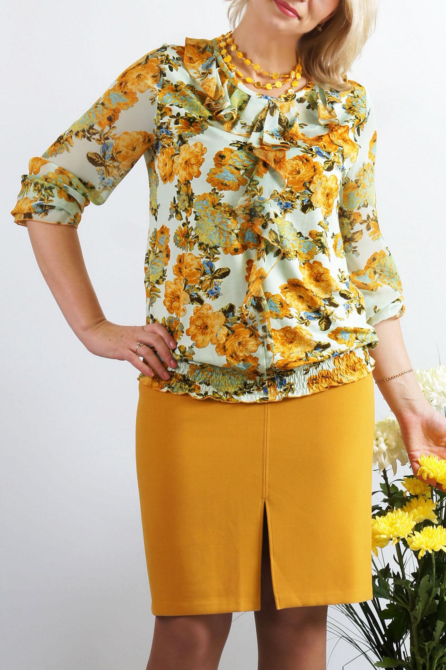 БлузкаБлузки<br>Нарядная блузка полуприталенного силуэта. Модель выполнена из приятного трикотажа и шифона. Отличный выбор для повседневного гардероба.  Длина изделия около 69 см.  В изделии использованы цвета: желтый, белый и др.  Параметры размеров: 42 размер - обхват груди 84 см., обхват талии 64 см., обхват бедер 92 см. 44 размер - обхват груди 88 см., обхват талии 68 см., обхват бедер 96 см. 46 размер - обхват груди 92 см., обхват талии 72 см., обхват бедер 100 см. 48 размер - обхват груди 96 см., обхват талии 76 см., обхват бедер 104 см. 50 размер - обхват груди 100 см., обхват талии 80 см., обхват бедер 108 см. 52 размер - обхват груди 104 см., обхват талии 85 см., обхват бедер 112 см. 54 размер - обхват груди 108 см., обхват талии 89 см., обхват бедер 116 см. 56 размер - обхват груди 112 см., обхват талии 94 см., обхват бедер 120 см. 58 размер - обхват груди 116 см., обхват талии 100 см., обхват бедер 124 см.  Ростовка изделия 167-173 см.<br><br>Горловина: С- горловина<br>По материалу: Вискоза,Трикотаж,Шифон<br>По рисунку: Растительные мотивы,С принтом,Цветные,Цветочные<br>По сезону: Весна,Зима,Лето,Осень,Всесезон<br>По силуэту: Полуприталенные<br>По стилю: Повседневный стиль<br>По элементам: С воланами и рюшами<br>Рукав: Длинный рукав<br>Размер : 48<br>Материал: Вискоза + Шифон<br>Количество в наличии: 1