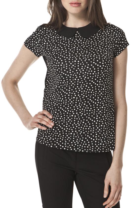 БлузкаБлузки<br>Милая блузка с отложным воротником и короткими рукавами. Модель выполнена из мягкой вискозы и шифона. Отличный выбор для любого случая.  Цвет: черный, белый  Ростовка изделия 170 см.<br><br>Воротник: Отложной<br>Горловина: С- горловина<br>По материалу: Вискоза,Шифон<br>По рисунку: В горошек,С принтом,Цветные<br>По сезону: Весна,Зима,Лето,Осень,Всесезон<br>По силуэту: Полуприталенные<br>По стилю: Повседневный стиль<br>По элементам: С воротником<br>Рукав: Короткий рукав<br>Размер : 44,46,48<br>Материал: Вискоза + Шифон<br>Количество в наличии: 4
