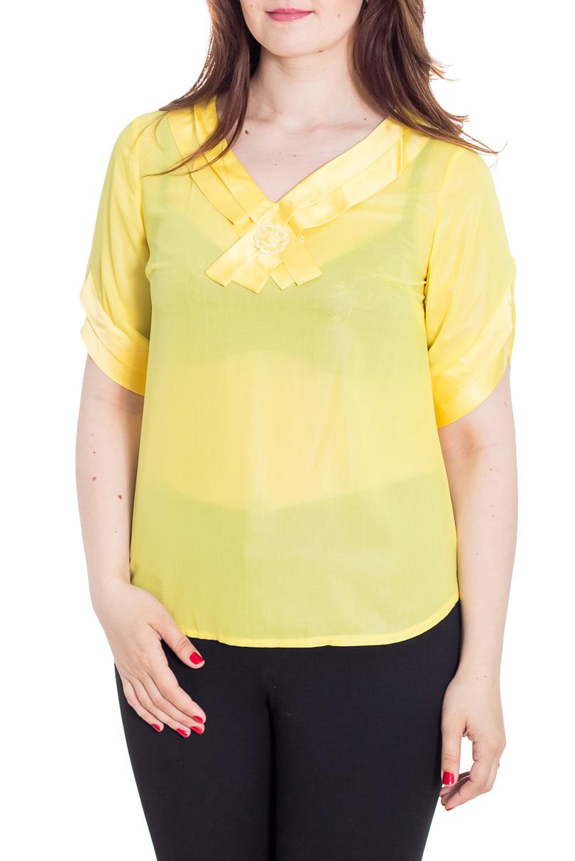 БлузкаБлузки<br>Однотонная блузка с V-образной горловиной и рукавами до локтя. Модель выполнена из воздушного шифона и атласа. Отличный выбор для любого случая.  Цвет: желтый  Рост девушки-фотомодели 180 см<br><br>Горловина: V- горловина<br>По материалу: Атлас,Шифон<br>По образу: Город,Свидание<br>По рисунку: Однотонные<br>По сезону: Весна,Зима,Лето,Осень,Всесезон<br>По силуэту: Полуприталенные<br>По стилю: Повседневный стиль<br>По элементам: С декором<br>Рукав: До локтя<br>Размер : 46,48,50,52<br>Материал: Шифон + Атлас<br>Количество в наличии: 5