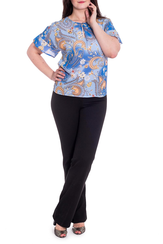 БлузкаБлузки<br>Красивая блузка с вырезом quot;капелькаquot;. Модель выполнена из воздушного шифона. Отличный выбор для повседневного гардероба.  Ростовка изделия 167-173 см.  В изделии использованы цвета: голубой, желтый  Длина изделия по спинке 60 см.  Параметры размеров: 42 размер - обхват груди 84 см., обхват талии 64 см., обхват бедер 92 см. 44 размер - обхват груди 88 см., обхват талии 68 см., обхват бедер 96 см. 46 размер - обхват груди 92 см., обхват талии 72 см., обхват бедер 100 см. 48 размер - обхват груди 96 см., обхват талии 76 см., обхват бедер 104 см. 50 размер - обхват груди 100 см., обхват талии 80 см., обхват бедер 108 см. 52 размер - обхват груди 104 см., обхват талии 85 см., обхват бедер 112 см. 54 размер - обхват груди 108 см., обхват талии 89 см., обхват бедер 116 см. 56 размер - обхват груди 112 см., обхват талии 94 см., обхват бедер 120 см. 58 размер - обхват груди 116 см., обхват талии 100 см., обхват бедер 124 см.  Рост девушки-фотомодели 180 см.<br><br>Горловина: С- горловина<br>По материалу: Шифон<br>По рисунку: С принтом,Цветные<br>По сезону: Весна,Зима,Лето,Осень,Всесезон<br>По силуэту: Полуприталенные<br>По стилю: Повседневный стиль<br>Рукав: Короткий рукав<br>Размер : 48,50,52,54,56<br>Материал: Шифон<br>Количество в наличии: 5