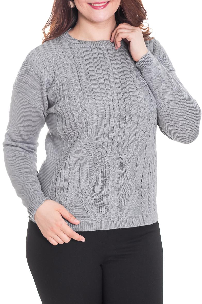 ДжемперДжемперы<br>Однотонный джемпер с круглой горловиной и длинными рукавами. Модель выполнена из вязаного трикотажа. Вязаный трикотаж - это красота, тепло и комфорт. В вязаных вещах очень легко оставаться женственной и в то же время не замёрзнуть.  Цвет: серый  Рост девушки-фотомодели 180 см<br><br>Горловина: С- горловина<br>По материалу: Вязаные,Трикотаж<br>По образу: Город,Свидание<br>По рисунку: Однотонные,Фактурный рисунок<br>По силуэту: Полуприталенные<br>По стилю: Повседневный стиль<br>Рукав: Длинный рукав<br>По сезону: Зима<br>Размер : 44,46,48,50<br>Материал: Вязаное полотно<br>Количество в наличии: 5