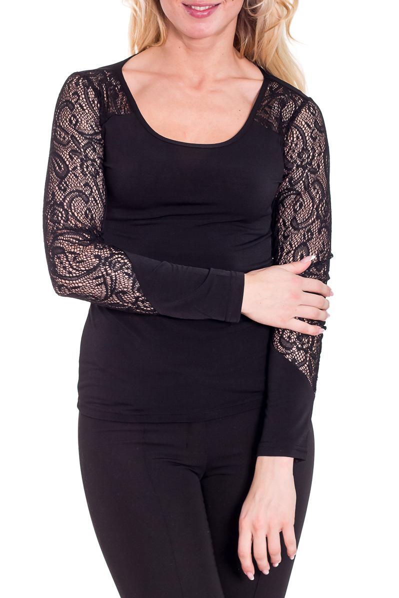 БлузкаБлузки<br>Великолепная блузка с длинными рукавами. Модель выполнена из приятного трикотажа и гипюра. Отличный выбор для любого случая.  Цвет: черный  Рост девушки-фотомодели 170 см<br><br>Горловина: С- горловина<br>По материалу: Трикотаж<br>По образу: Город,Свидание<br>По рисунку: Однотонные<br>По сезону: Весна,Всесезон,Зима,Лето,Осень<br>По силуэту: Полуприталенные<br>По стилю: Нарядный стиль,Повседневный стиль<br>Рукав: Длинный рукав<br>Размер : 42,44,46<br>Материал: Холодное масло<br>Количество в наличии: 6