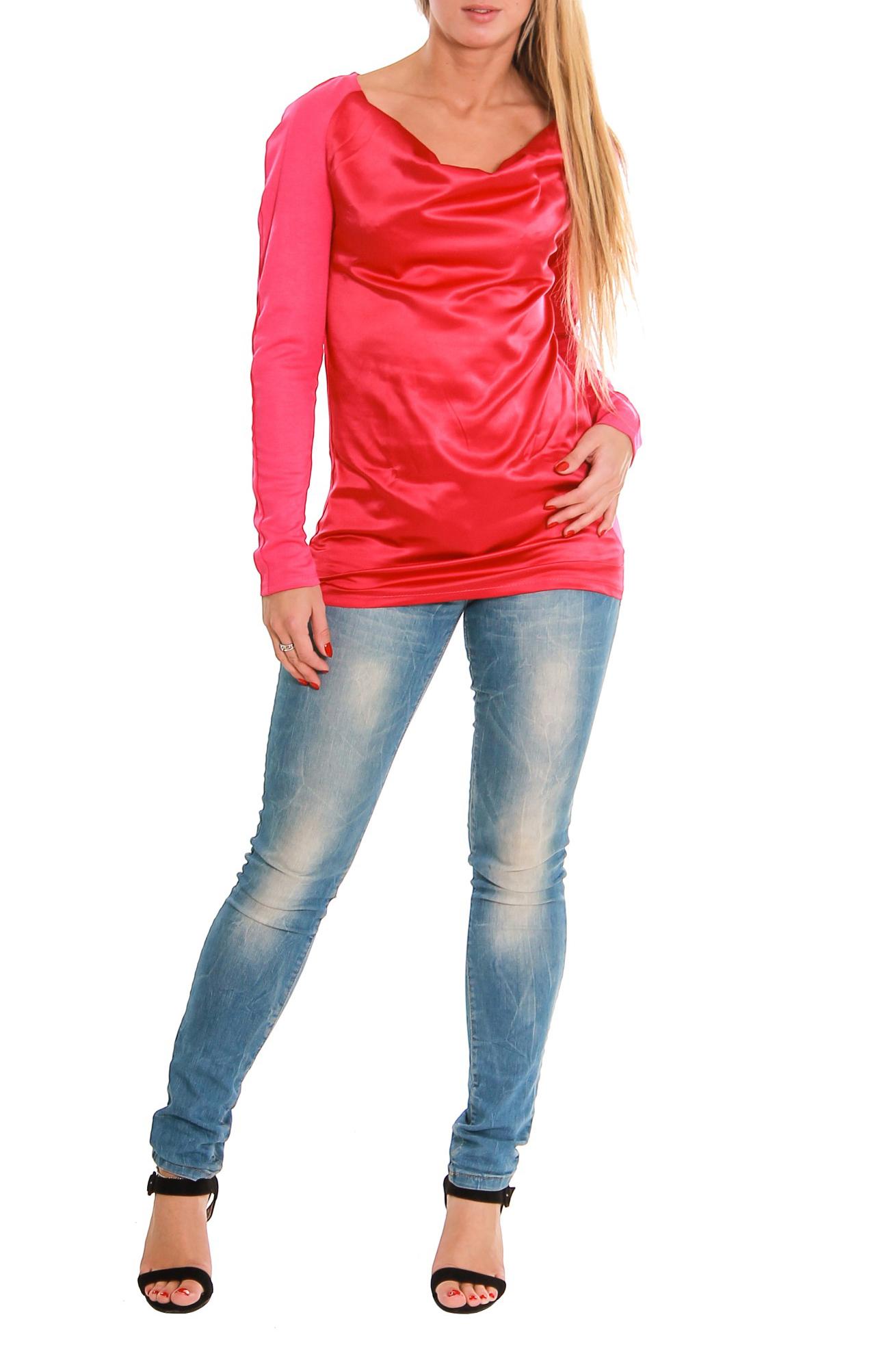 БлузкаБлузки<br>Блуза свободного кроя, длинной до бедер. Длиный рукав-реглан.<br><br>По образу: Город,Свидание<br>По рисунку: Однотонные,Неоновые<br>По сезону: Зима,Осень,Весна<br>По элементам: С декором,Со складками<br>Рукав: Длинный рукав<br>Горловина: Качель<br>По силуэту: Свободные<br>По материалу: Атлас,Трикотаж,Хлопок<br>По стилю: Повседневный стиль<br>Размер : 52,54<br>Материал: Джерси<br>Количество в наличии: 3