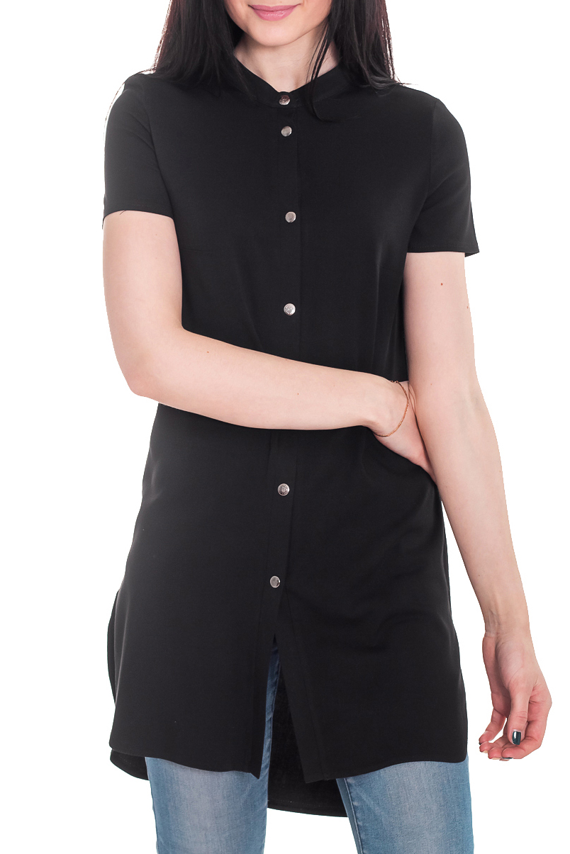 РубашкаРубашки<br>Рубашка - это незаменимый базовый элемент гардероба, который должен быть у каждой женщины. Она легко впишется в любой стиль и внесет особый шарм в Ваш образ.  Рубашка удлиненная, прямого силуэта с асимметричным, фигурным низом. На передней части изделия центральная застежка на кнопки с планками. Воротник стойка. Рукав втачной, короткий.  Цвет: черный.  Длина рукава - 19 ± 1 см  Рост девушки-фотомодели 169 см  Длина изделия - 89 ± 2 см<br><br>Воротник: Стойка<br>Застежка: С кнопками<br>По материалу: Шерсть<br>По рисунку: Однотонные<br>По сезону: Весна,Зима,Лето,Осень,Всесезон<br>По силуэту: Прямые<br>По стилю: Кэжуал,Молодежный стиль,Офисный стиль,Повседневный стиль,Ультрамодный стиль<br>По элементам: С воротником,С декором,С отделочной фурнитурой,С фигурным низом<br>Рукав: Короткий рукав<br>Размер : 42,44,46,48<br>Материал: Штапель<br>Количество в наличии: 15