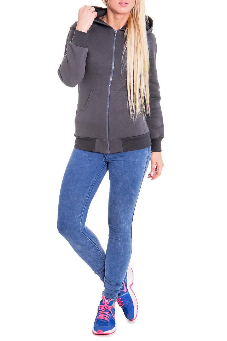 ТолстовкаСпортивная одежда<br>Стильная молодежная толстовка на молнии с капюшоном. Цвет: серый.  Рост девушки-фотомодели 170 см.<br><br>Застежка: С молнией<br>По материалу: Хлопок<br>По рисунку: Однотонные<br>По силуэту: Полуприталенные<br>По стилю: Молодежный стиль,Повседневный стиль,Спортивный стиль<br>По элементам: С капюшоном,С карманами,С манжетами,С декором<br>Рукав: Длинный рукав<br>По сезону: Зима<br>По форме: Спортивные кофты<br>Размер : 46<br>Материал: Хлопок<br>Количество в наличии: 1