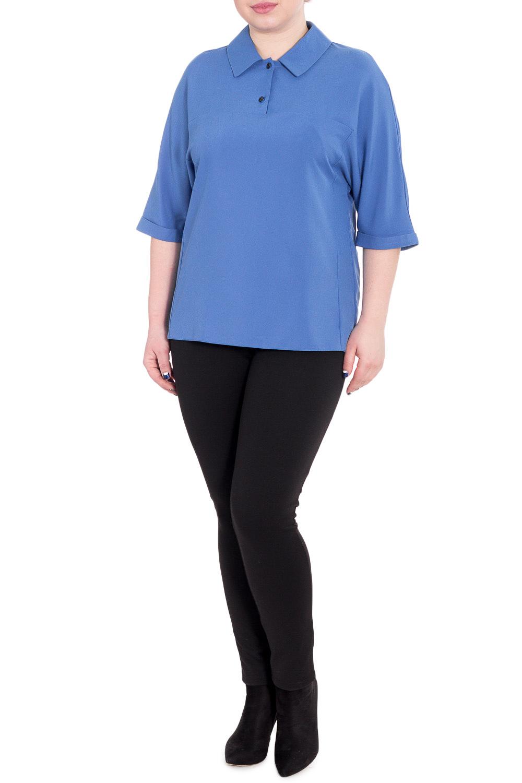 БлузкаБлузки<br>Классическая женская блузка - это универсальный предмет одежды, в котором можно пойти как на работу, так и на свидание.  Блузка прямого силуэта с кокетками на передней и задней частях изделия. На кокетке спинки средний шов. Воротник стояче-отложной с застежкой на две пуговицы на передней части изделия. Рукав цельнокроенный, 3/4, с манжетой на отворот.  Цвет: фиалковый.  Длина рукава (от конечной плечевой точки) - 40 ± 1 см  Рост девушки-фотомодели 170 см  Длина изделия - 65 ± 2 см<br><br>Воротник: Рубашечный,Стояче-отложной<br>Застежка: С пуговицами<br>По материалу: Блузочная ткань,Тканевые<br>По сезону: Весна,Зима,Лето,Осень,Всесезон<br>По силуэту: Прямые<br>По стилю: Классический стиль,Кэжуал,Офисный стиль,Повседневный стиль<br>По элементам: С воротником,С манжетами<br>Рукав: Рукав три четверти<br>По рисунку: Однотонные<br>Размер : 50<br>Материал: Блузочная ткань<br>Количество в наличии: 1