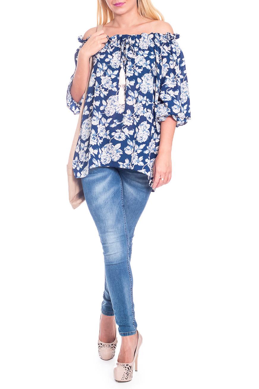 БлузкаТуники<br>Элегантная и женственная удлиненная блузка, которая подойдет любому типу фигуры, выполненная из струящейся блузочной ткани.  Блузка силуэта quot;трапецияquot; с асимметричным низом. На спинке средний шов. Горловина обработана обтачкой со сборкой, декоративный шнурок с кистями. Рукав реглан, 3/4, со сборкой по низу.  В изделии использованы цвета: синий, голубой.  Длина рукава (от конечной плечевой точки) - 43 ± 1 см  Рост девушки-фотомодели 170 см  Длина изделия - 67 ± 2 см  При создании образа, который Вы видите на фотографии, также была использована стильная сумка арт. SMK5116. Для просмотра модели введите артикул в строке поиска.<br><br>Горловина: Лодочка<br>Рукав: Рукав три четверти<br>Материал: Тканевые,Блузочная ткань<br>Рисунок: Растительные мотивы,С принтом,Цветные,Цветочные<br>Сезон: Весна,Всесезон,Зима,Лето,Осень<br>Силуэт: Свободные<br>Стиль: Летний стиль,Молодежный стиль,Повседневный стиль,Романтический стиль,Ультрамодный стиль<br>Элементы: С декором,С резинкой,С фигурным низом,Со складками<br>Размер : 48,50,52,54,56<br>Материал: Блузочная ткань<br>Количество в наличии: 25