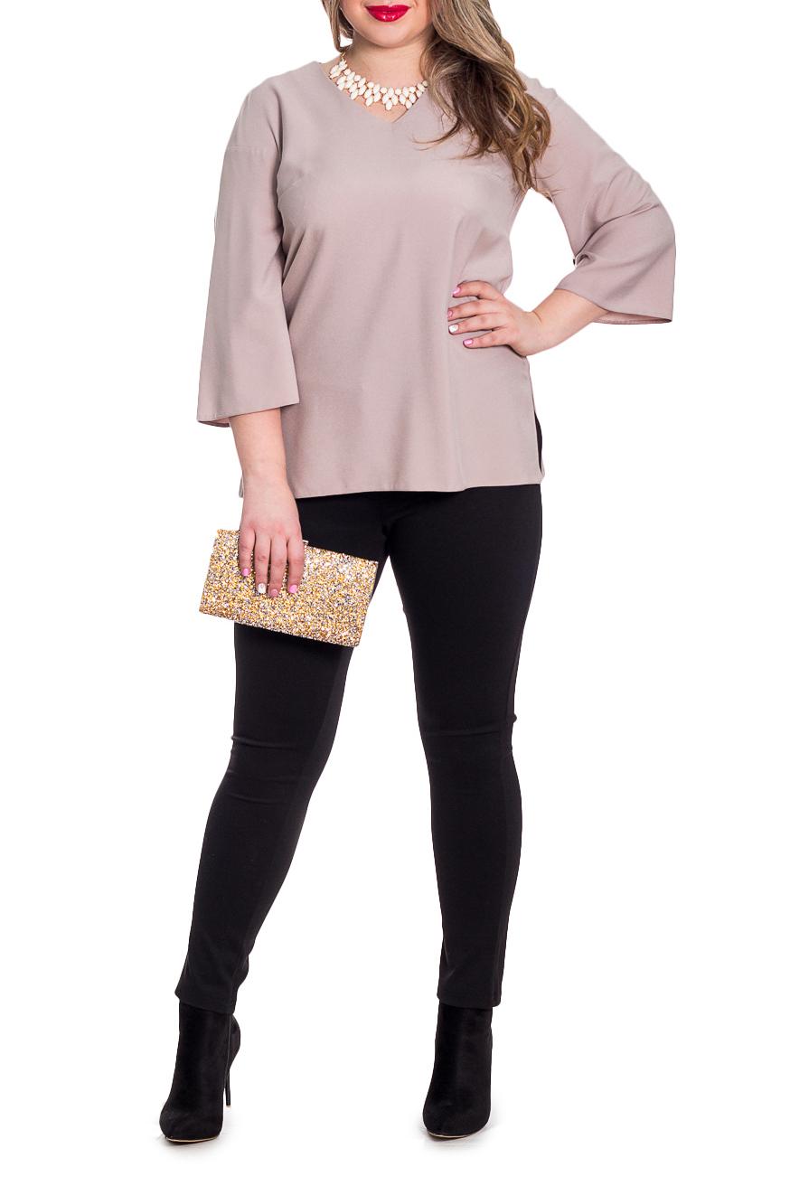 БлузкаБлузки<br>Классическая женская блузка - это универсальный предмет одежды, в котором можно пойти как на работу, так и на свидание.  Блузка прямого силуэта с разрезами по бокам. На спинке средний шов. Горловина обработана обтачкой. Рукав рубашечный, 3/4, со спущенной линией плеча, расширен к низу.  Цвет: бежевый.  Рост девушки-фотомодели 170 см  Длина изделия: 46 размер - 65 ± 2 см 48 размер - 65 ± 2 см 50 размер - 65 ± 2 см 52 размер - 65 ± 2 см 54 размер - 67 ± 2 см 56 размер - 67 ± 2 см 58 размер - 67 ± 2 см<br><br>Горловина: V- горловина<br>По материалу: Блузочная ткань,Тканевые<br>По рисунку: Однотонные<br>По сезону: Весна,Зима,Лето,Осень,Всесезон<br>По силуэту: Прямые<br>По стилю: Классический стиль,Кэжуал,Офисный стиль,Повседневный стиль<br>Рукав: Рукав три четверти<br>Размер : 48,50,52,54,56,58<br>Материал: Плательно-блузочная ткань<br>Количество в наличии: 20