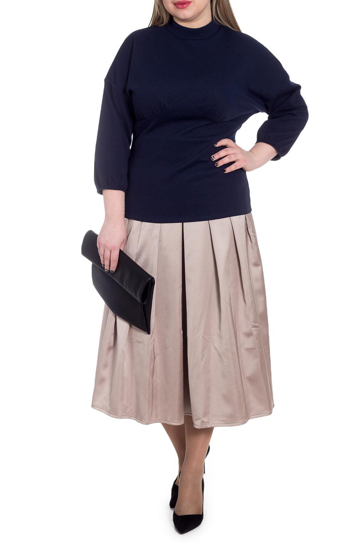 БлузкаБлузки<br>Классическая женская блузка из приятного к телу трикотажа станет основой Вашего повседневного гардероба.  Блузка приталенного силуэта с фигурным резом  и сборкой под грудью. На спинке лифа средний шов. Воротник стойка. Рукав рубашечный, 3/4, со спущенной линией плеча и резинкой по низу.  Цвет: синий.  Длина рукава (от конечной плечевой точки) - 47 ± 1 см  Рост девушки-фотомодели 170 см  Длина изделия: 46 размер - 65 ± 2 см 48 размер - 65 ± 2 см 50 размер - 65 ± 2 см 52 размер - 65 ± 2 см 54 размер - 67 ± 2 см 56 размер - 67 ± 2 см 58 размер - 67 ± 2 см  При создании образа, который Вы видите на фотографии, также была использована стильная юбка арт. U1215. Для просмотра модели введите артикул в строке поиска.<br><br>Воротник: Стойка<br>По материалу: Трикотаж<br>По рисунку: Однотонные<br>По сезону: Весна,Зима,Лето,Осень,Всесезон<br>По силуэту: Приталенные<br>По стилю: Классический стиль,Кэжуал,Офисный стиль,Повседневный стиль<br>Рукав: Рукав три четверти<br>Размер : 48,50<br>Материал: Трикотаж<br>Количество в наличии: 2