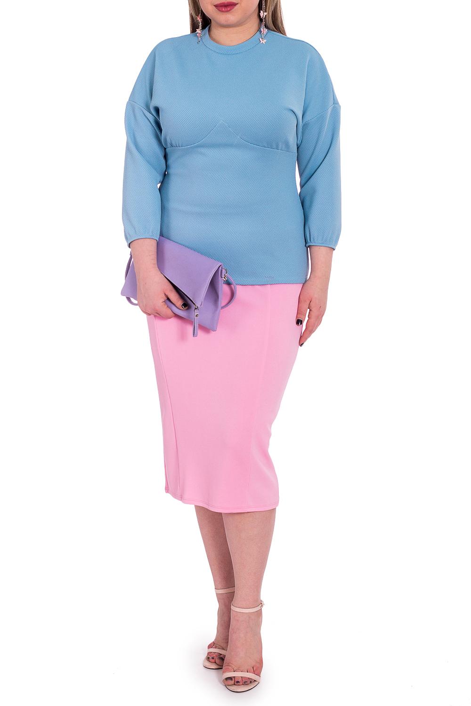 БлузкаБлузки<br>Классическая женская блузка из приятного к телу трикотажа станет основой Вашего повседневного гардероба.  Блузка приталенного силуэта с фигурным резом  и сборкой под грудью. На спинке лифа средний шов. Воротник стойка. Рукав рубашечный, 3/4, со спущенной линией плеча и резинкой по низу.  Цвет: голубой.  Длина рукава (от конечной плечевой точки) - 47 ± 1 см  Рост девушки-фотомодели 170 см  Длина изделия: 46 размер - 65 ± 2 см 48 размер - 65 ± 2 см 50 размер - 65 ± 2 см 52 размер - 65 ± 2 см 54 размер - 67 ± 2 см 56 размер - 67 ± 2 см 58 размер - 67 ± 2 см  При создании образа, который Вы видите на фотографии, также были использованы стильная юбка арт. U1416 и клатч арт. SMK0115. Для просмотра модели введите артикул в строке поиска.<br><br>Воротник: Стойка<br>По материалу: Трикотаж<br>По образу: Город,Офис,Свидание<br>По рисунку: Однотонные<br>По сезону: Весна,Зима,Лето,Осень,Всесезон<br>По силуэту: Приталенные<br>По стилю: Классический стиль,Кэжуал,Офисный стиль,Повседневный стиль<br>Рукав: Рукав три четверти<br>Размер : 50<br>Материал: Трикотаж<br>Количество в наличии: 1