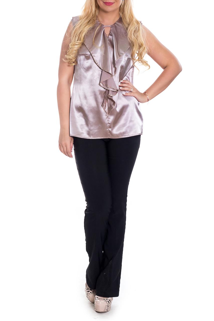 БлузкаБлузки<br>Классическая женская блузка - это универсальный предмет одежды, в котором можно пойти как на работу, так и на свидание.  Блуза полуприлегающего силуэта. На передней части изделия средний шов с воланами. На спинке средний шов с молнией. Горловина обработана обтачкой. Проймы окантованы.  Цвет: бежевый.  Рост девушки-фотомодели 170 см  Длина изделия - 67 ± 2 см<br><br>Застежка: С молнией<br>По материалу: Атлас<br>По образу: Выход в свет,Город,Клуб,Круиз,Свидание<br>По рисунку: Однотонные<br>По сезону: Весна,Зима,Лето,Осень,Всесезон<br>По силуэту: Полуприталенные<br>По стилю: Нарядный стиль,Повседневный стиль,Романтический стиль<br>По элементам: С воланами и рюшами,С декором,Со складками<br>Рукав: Без рукавов<br>Горловина: Фигурная горловина<br>Размер : 48,50,52,54,56,58<br>Материал: Атлас<br>Количество в наличии: 20