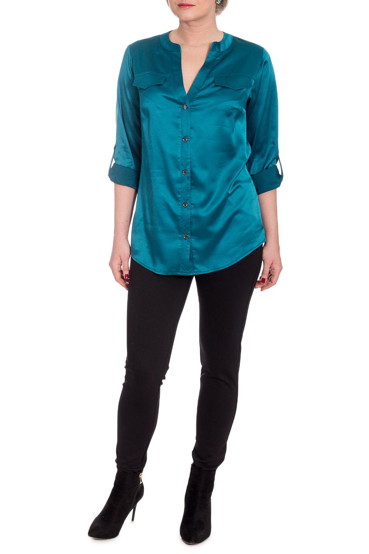 БлузкаБлузки<br>Эта очаровательная блузка - рубашка придаст гардеробу новое дыхание Благодаря лаконичному фасону, эта модель легко подойдет к другим предметам гардероба и позволит создавать стильные образы.  Элегантная женская блузка свободного силуэта, длиной чуть ниже линии бедер с фигурным низом. Нагрудные вытачки. Кокетка на переде и спинке. Застежка с планкой на петли пуговицы. Горловина обработана двойной обтачкой. Декоративные клапаны на пуговицах. Рукав рубашечный, с патой.  Цвет: темно-бирюзовый.  Длина рукава - 58 ± 1 см  Рост девушки-фотомодели 170 см  Длина изделия - 72 ± 2 см<br><br>Горловина: V- горловина<br>Застежка: С пуговицами<br>По материалу: Атлас<br>По образу: Город,Офис,Свидание<br>По рисунку: Однотонные<br>По сезону: Весна,Зима,Лето,Осень,Всесезон<br>По силуэту: Свободные<br>По стилю: Классический стиль,Кэжуал,Нарядный стиль,Офисный стиль,Повседневный стиль<br>По элементам: С декором,С манжетами,С фигурным низом<br>Рукав: Рукав три четверти<br>Размер : 48<br>Материал: Атлас<br>Количество в наличии: 1