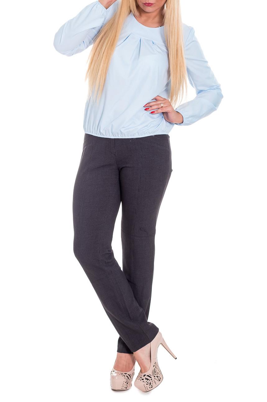 БлузкаБлузки<br>Классическая женская блузка из приятного к телу трикотажа станет основой Вашего повседневного гардероба.  Блузка свободного кроя с резинкой по низу изделия и рукавов. На передней части изделия встречные складки. Горловина обработана двойной обтачкой. Рукав втачной, длинный.  Цвет: нежно-голубой.  Длина рукава - 61 ± 1 см  Рост девушки-фотомодели 170 см  Длина изделия: 46 размер - 59 ± 2 см 48 размер - 59 ± 2 см 50 размер - 59 ± 2 см 52 размер - 59 ± 2 см 54 размер - 62 ± 2 см 56 размер - 62 ± 2 см 58 размер - 62 ± 2 см<br><br>Горловина: С- горловина<br>По материалу: Блузочная ткань<br>По образу: Город,Офис,Свидание<br>По рисунку: Однотонные<br>По сезону: Весна,Зима,Лето,Осень,Всесезон<br>По силуэту: Свободные<br>По стилю: Классический стиль,Кэжуал,Офисный стиль,Повседневный стиль<br>По элементам: С декором,Со складками<br>Рукав: Длинный рукав<br>Размер : 48,50,52,54,56,58<br>Материал: Блузочная ткань<br>Количество в наличии: 31