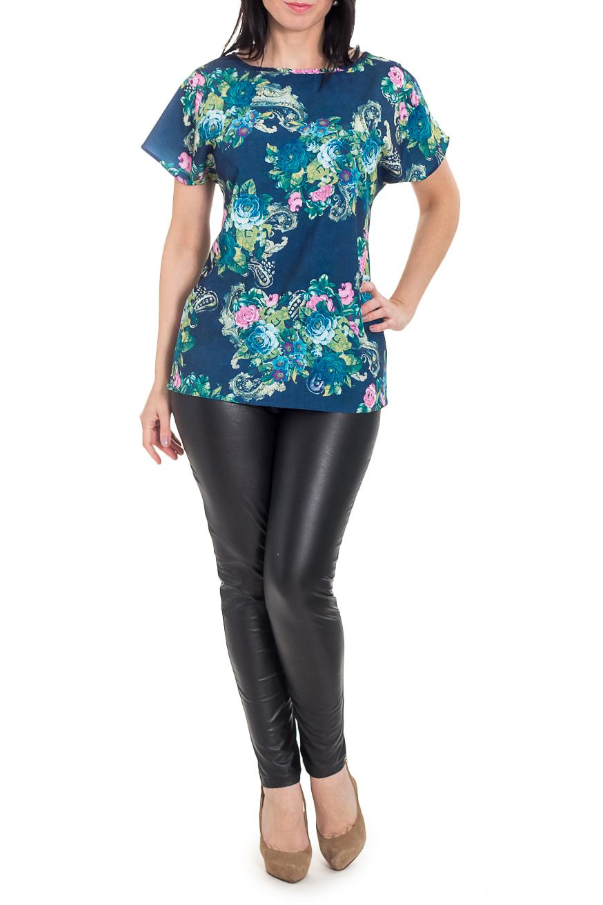 Блузка - туникаТуники<br>Эта прелестная блузка станет изумительным вариантом повседневного или выходного наряда. Цветочный принт украсит любую леди. Изумительно садясь по фигуре, эта блузка - туника маскирует ее проблемные зоны.  Блузка - туника свободного кроя с цельновыкроенными короткими рукавами. На спинке средний шов. Горловина окантована.  Цвет: синий и др.  Длина рукава - 16 ± 1 см  Рост девушки-фотомодели 170 см  Длина изделия - 68 ± 2 см<br><br>Горловина: Лодочка,С- горловина<br>По материалу: Тканевые<br>По образу: Город,Свидание<br>По рисунку: Растительные мотивы,С принтом,Цветные,Цветочные<br>По сезону: Весна,Зима,Лето,Осень,Всесезон<br>По силуэту: Полуприталенные<br>По стилю: Повседневный стиль<br>Рукав: Короткий рукав<br>Размер : 48,50,52<br>Материал: Плательно-блузочная ткань<br>Количество в наличии: 11