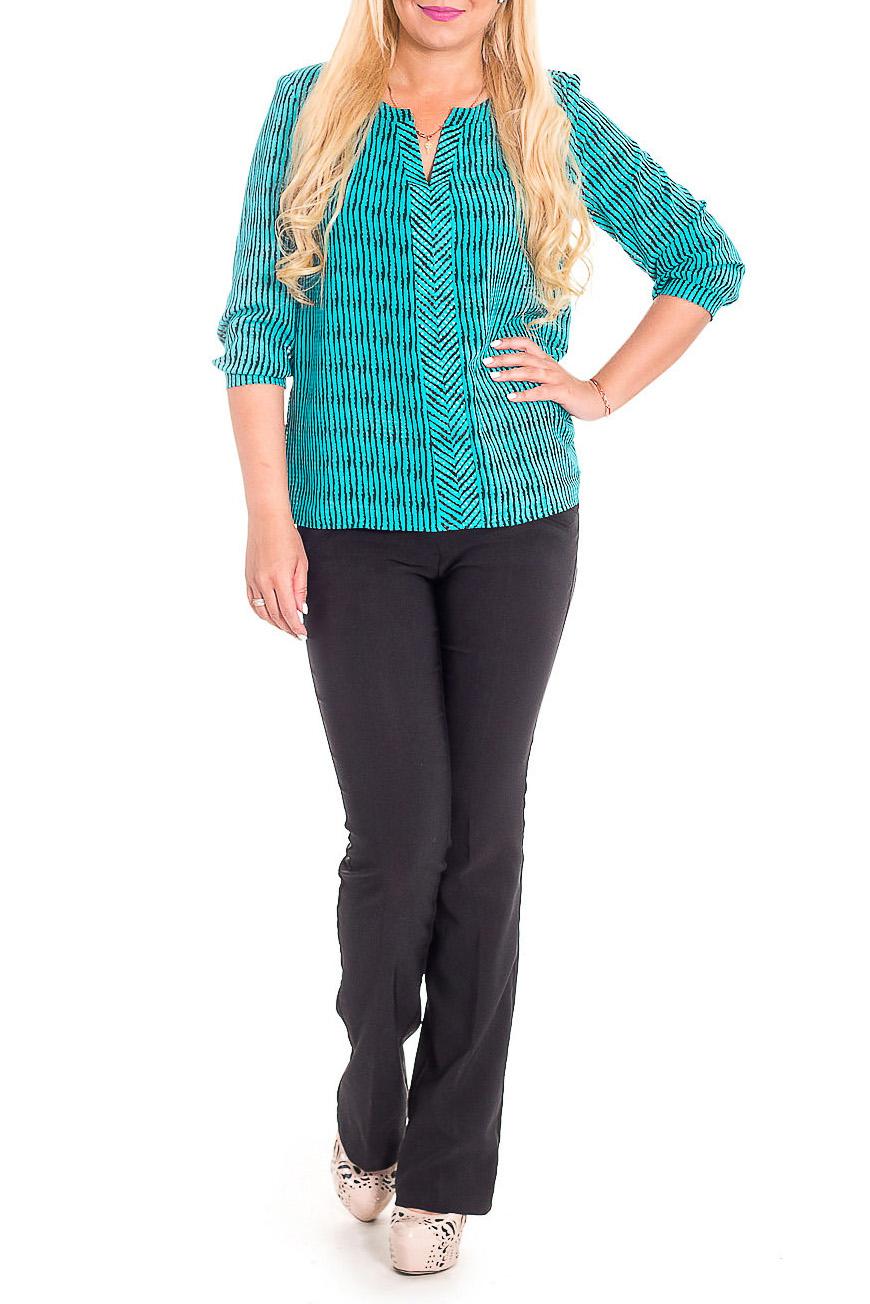 БлузкаБлузки<br>Изысканная женская блузка из приятной к телу блузочной ткани станет основой Вашего повседневного гардероба.  Блузка свободного кроя. На передней части изделия планки и сборка по горловине. Горловина обработана двойной обтачкой. Рукав втачной, 3/4, с притачной манжетой и сборкой по низу.  Цвет: бирюзовый, черный.  Длина рукава - 46 ± 1 см  Рост девушки-фотомодели 170 см  Длина изделия - 61 ± 2 см<br><br>Застежка: С пуговицами<br>По материалу: Блузочная ткань,Тканевые<br>По рисунку: В полоску,Цветные,С принтом<br>По сезону: Весна,Зима,Лето,Осень,Всесезон<br>По силуэту: Прямые,Свободные<br>По стилю: Повседневный стиль<br>По элементам: С декором,С манжетами<br>Рукав: Рукав три четверти<br>Горловина: Фигурная горловина<br>Размер : 46,48,50,54,56<br>Материал: Блузочная ткань<br>Количество в наличии: 23
