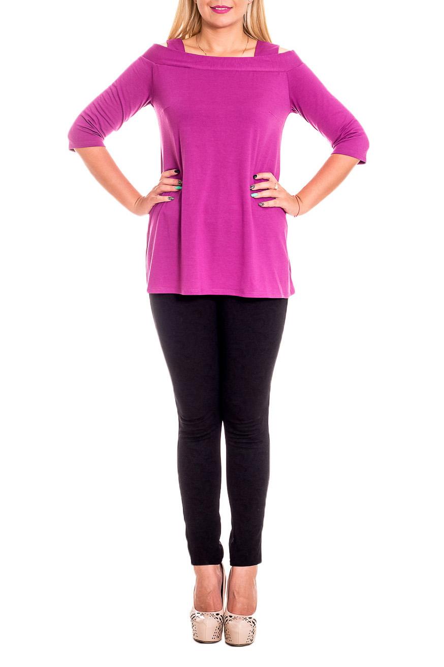 БлузкаБлузки<br>Оригинальная женская блузка станет изумительным вариантом повседневного или выходного наряда. Изумительно садясь по фигуре, эта блузка маскирует ее проблемные зоны.  Блуза силуэта quot;трапецияquot; с открытыми плечами и широкими лямками. На спинке средний шов. Рукав 3/4.  Цвет: фуксия.  Длина рукава (от конечной плечевой точки) - 39 ± 1 см  Рост девушки-фотомодели 170 см  Длина изделия (от 7-го шейного позвонка) - 70 ± 2 см<br><br>Горловина: Лодочка<br>По материалу: Вискоза<br>По рисунку: Однотонные<br>По сезону: Весна,Зима,Лето,Осень,Всесезон<br>По силуэту: Свободные<br>По стилю: Кэжуал,Молодежный стиль,Повседневный стиль,Романтический стиль,Ультрамодный стиль<br>По элементам: С декором<br>Рукав: Рукав три четверти<br>Размер : 50,54<br>Материал: Вискоза<br>Количество в наличии: 3