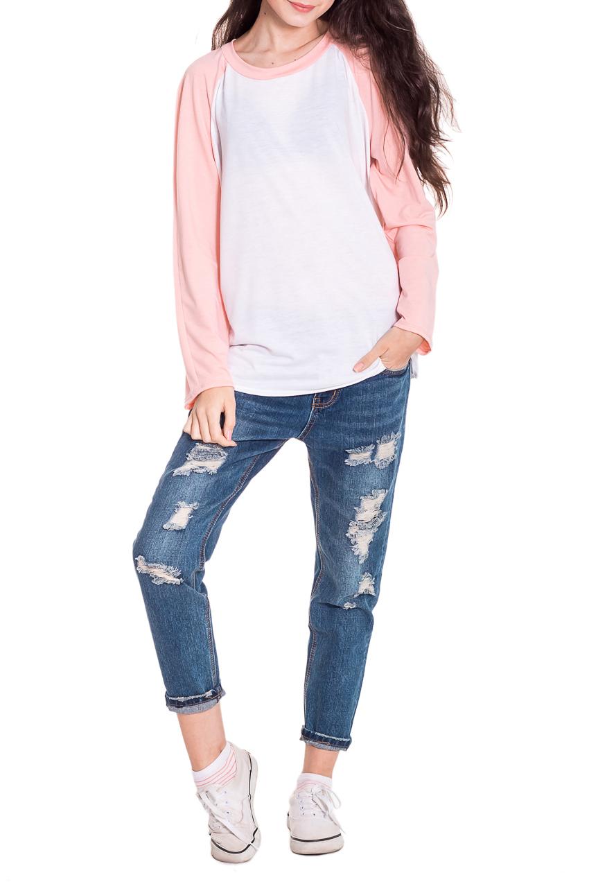 ЛонгсливЛонгсливы<br>Лонгслив - это хорошая базовая вещь, которую достаточно легко сочетать с джинсами, брюками, шортами, его можно носить под кардиган, пиджак или жакет. Лонгслив прямого силуэта. Горловина обработана бейкой. Рукав реглан, длинный. Цвет: розовый персик и белый.  Длина рукава - 60 ± 1 см  Рост девушки-фотомодели 174 см  Длина изделия - 62 ± 2 см<br><br>Горловина: С- горловина<br>По материалу: Вискоза,Трикотаж<br>По образу: Город,Свидание<br>По рисунку: Однотонные<br>По сезону: Весна,Осень<br>По силуэту: Прямые<br>По стилю: Кэжуал,Молодежный стиль,Повседневный стиль<br>Рукав: Длинный рукав<br>Размер : 48,50,52<br>Материал: Вискоза<br>Количество в наличии: 7