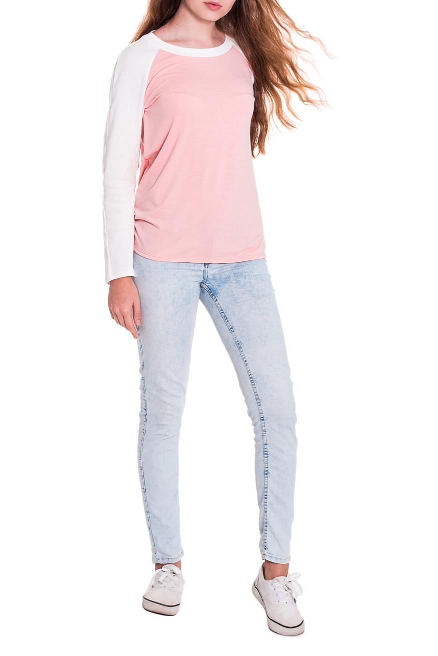ЛонгсливЛонгсливы<br>Лонгслив - это хорошая базовая вещь, которую достаточно легко сочетать с джинсами, брюками, шортами, его можно носить под кардиган, пиджак или жакет. Лонгслив прямого силуэта. Горловина обработана бейкой. Рукав реглан, длинный. Цвет: розовый персик и белый.  Длина рукава - 60 ± 1 см  Рост девушки-фотомодели 174 см  Длина изделия - 62 ± 2 см<br><br>Горловина: С- горловина<br>По материалу: Вискоза,Трикотаж<br>По рисунку: Однотонные<br>По сезону: Весна,Осень<br>По силуэту: Прямые<br>По стилю: Кэжуал,Молодежный стиль,Повседневный стиль<br>Рукав: Длинный рукав<br>Размер : 42<br>Материал: Вискоза<br>Количество в наличии: 1