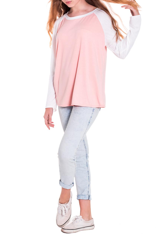 ЛонгсливЛонгсливы<br>Лонгслив - это хорошая базовая вещь, которую достаточно легко сочетать с джинсами, брюками, шортами, его можно носить под кардиган, пиджак или жакет. Лонгслив прямого силуэта. Горловина обработана бейкой. Рукав реглан, длинный. Цвет: розовый персик и белый.  Длина рукава - 60 ± 1 см  Рост девушки-фотомодели 174 см  Длина изделия - 62 ± 2 см<br><br>Горловина: С- горловина<br>По материалу: Вискоза,Трикотаж<br>По образу: Город,Свидание<br>По рисунку: Однотонные<br>По сезону: Весна,Осень<br>По силуэту: Прямые<br>По стилю: Кэжуал,Молодежный стиль,Повседневный стиль<br>Рукав: Длинный рукав<br>Размер : 50<br>Материал: Вискоза<br>Количество в наличии: 1