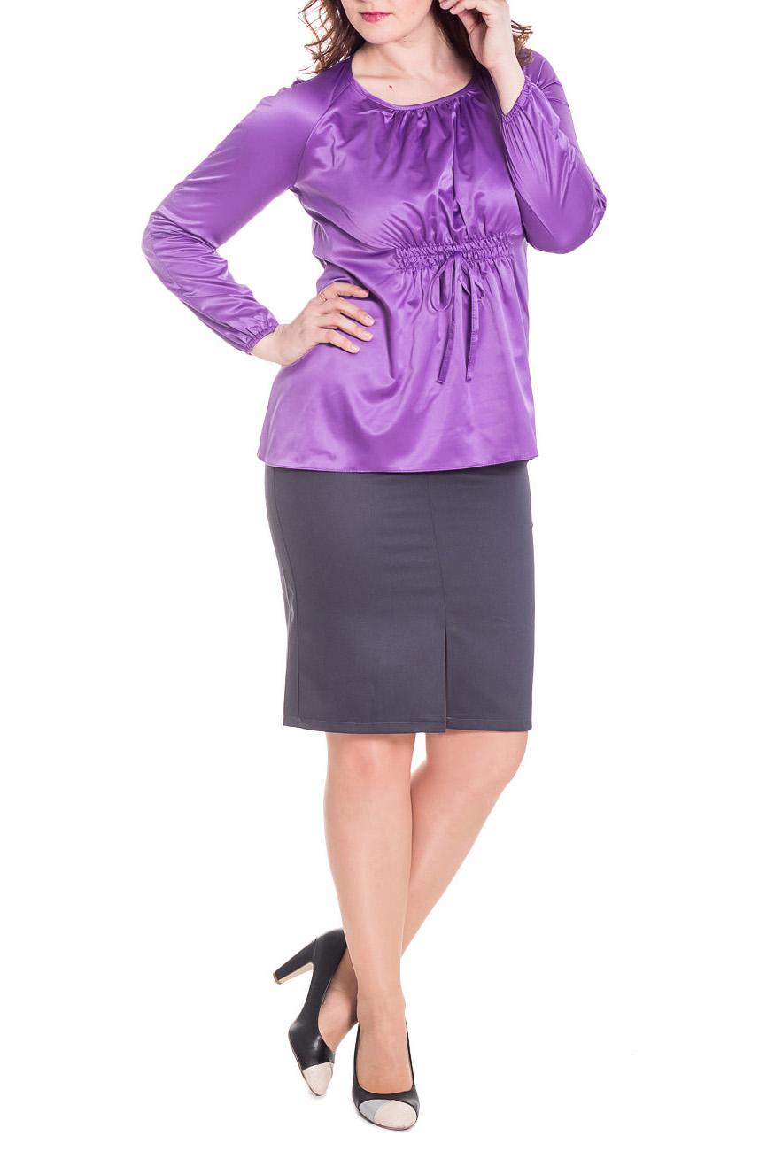 БлузкаБлузки<br>Шикарная женская блузка из струящегося атласа.  Блуза свободного кроя, длиной до бедер. Округлая горловина на окантовке. Длинный рукав. Складки по груди от горловины.  Цвет: насыщенный сиреневый.  Рост девушки-фотомодели 180 см<br><br>Горловина: С- горловина<br>Застежка: С завязками<br>По материалу: Атлас<br>По рисунку: Однотонные<br>По сезону: Весна,Зима,Лето,Осень,Всесезон<br>По силуэту: Свободные<br>По стилю: Нарядный стиль,Повседневный стиль<br>По элементам: С декором,Со складками<br>Рукав: Длинный рукав<br>Размер : 48,50,52,54<br>Материал: Атлас<br>Количество в наличии: 9