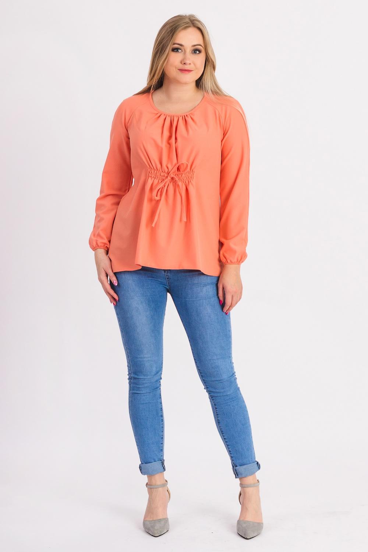 БлузкаБлузки<br>Шикарная женская блузка из струящейся блузочной ткани.  Блуза свободного кроя, длиной до бедер. Округлая горловина на окантовке. Длинный рукав. Складки по груди от горловины.  Цвет: персиковый.  Рост девушки-фотомодели 180 см<br><br>Горловина: С- горловина<br>Застежка: С завязками<br>По материалу: Блузочная ткань,Тканевые<br>По рисунку: Однотонные<br>По сезону: Весна,Зима,Лето,Осень,Всесезон<br>По силуэту: Свободные<br>По стилю: Повседневный стиль<br>По элементам: С декором,Со складками<br>Рукав: Длинный рукав<br>Размер : 48,50,52,54,56<br>Материал: Блузочная ткань<br>Количество в наличии: 14