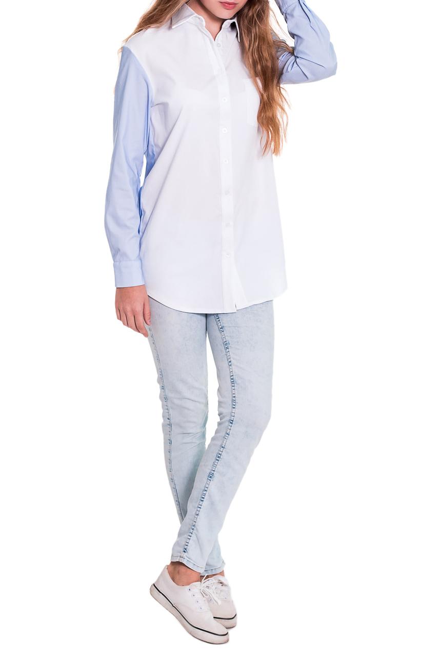 РубашкаРубашки<br>Рубашка - это незаменимый базовый элемент гардероба, который должен быть у каждой женщины. Она легко впишется в любой стиль и внесет особый шарм в ваш образ. Рубашка прямого силуэта с нагрудным карманом. Центральная застежка на пуговицы с планкой. На спинке кокетка со складкой. Воротник стояче-отложной. Рукав рубашечный, длинный, с притачной манжетой. Цвет: бело-голубой.  Длина рукава - 64 ± 1 см  Рост девушки-фотомодели 174 см  Длина изделия - 75 ± 2 см<br><br>По образу: Город,Офис,Свидание<br>По стилю: Офисный стиль,Повседневный стиль,Классический стиль,Ультрамодный стиль,Кэжуал,Молодежный стиль<br>По материалу: Хлопок,Блузочная ткань,Тканевые<br>По рисунку: Однотонные<br>По сезону: Осень,Весна,Всесезон,Зима,Лето<br>По силуэту: Прямые<br>По элементам: С декором,С манжетами,С фигурным низом,С воротником<br>Воротник: Рубашечный,Стояче-отложной<br>Рукав: Длинный рукав<br>Застежка: С пуговицами<br>Размер: 50,52,42,44,46,48<br>Материал: 50% хлопок 45% полиэстер 5% эластан<br>Количество в наличии: 25
