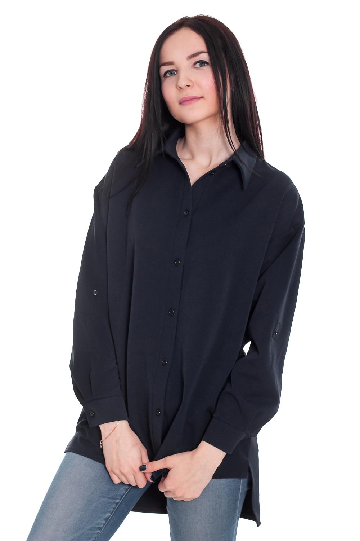 РубашкаРубашки<br>Рубашка - это незаменимый базовый элемент гардероба, который должен быть у каждой женщины. Она легко впишется в любой стиль и внесет особый шарм в Ваш образ.  Рубашка прямого силуэта с карманами в боковых швах. На передней части изделия центральная застежка на планку с пуговицами. На спинке средний шов. Разрезы по боковым швам. Воротник стояче-отложной. Рукав рубашечный, длинный, с притачной манжетой и застежкой на пуговицу, трансформируется в 3/4.  Цвет: темно-синий.  Длина рукава (от конечной плечевой точки) - 58 ± 1 см  Рост девушки-фотомодели 169 см  Длина изделия - 77 ± 2 см<br><br>По образу: Офис,Свидание,Город<br>По стилю: Кэжуал,Офисный стиль,Повседневный стиль,Ультрамодный стиль,Классический стиль<br>По материалу: Костюмные ткани,Тканевые<br>По рисунку: Однотонные<br>По сезону: Лето,Осень,Всесезон,Весна,Зима<br>По силуэту: Прямые<br>По элементам: С фигурным низом,С декором,С карманами,С манжетами,С отделочной фурнитурой,С воротником<br>Воротник: Рубашечный,Стояче-отложной<br>Рукав: Длинный рукав,Рукав три четверти<br>Застежка: С пуговицами<br>Размер: 44,46<br>Материал: 70% полиэстер 30% хлопок<br>Количество в наличии: 1