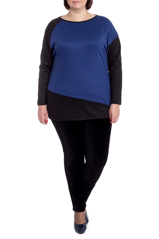 ДжемперДжемперы<br>Джемпер является универсальным элементом повседневного гардероба каждой женщины.  Джемпер свободного кроя с асимметричными резами на переде и спинке. На спинке средний шов. Горловина окантована. Рукав левый рубашечный, правый реглан, длинные. Цвет: черный, синий.  Длина рукава - 61 ± 1 см  Рост девушки-фотомодели 176 см  Длина изделия - 76 ± 2 см<br><br>По материалу: Трикотаж<br>По сезону: Зима,Осень<br>По силуэту: Свободные<br>По стилю: Кэжуал,Офисный стиль,Повседневный стиль<br>Рукав: Длинный рукав<br>Горловина: Лодочка<br>По рисунку: Цветные<br>Размер : 58,60,62,64,66,68<br>Материал: Трикотаж<br>Количество в наличии: 16