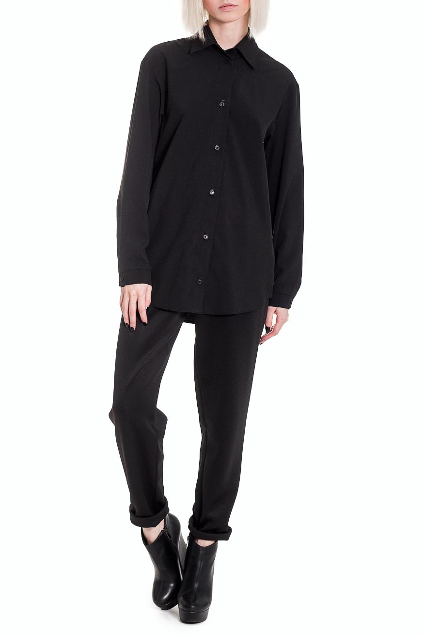 РубашкаРубашки<br>Основой любого базового гардероба является наличие классической рубашки. Вы всегда сможете использовать ее для создания как делового, так и ультрамодного образа.   Рубашка прямого силуэта. На передней части изделия центральная застежка на пуговицы. На спинке кокетка со складками. Воротник стояче-отложной. Рукав рубашечный, длинный, с притачной манжетой и застежкой на пуговицу.  Цвет: черный.  Длина рукава - 63 ± 1 см  Рост девушки-фотомодели 164 см  Длина изделия - 73 ± 2 см<br><br>Воротник: Рубашечный,Стояче-отложной<br>Застежка: С пуговицами<br>По материалу: Костюмные ткани,Тканевые<br>По образу: Город,Офис,Свидание<br>По рисунку: Однотонные<br>По сезону: Весна,Всесезон,Зима,Лето,Осень<br>По силуэту: Прямые<br>По стилю: Классический стиль,Кэжуал,Офисный стиль,Повседневный стиль<br>По элементам: С воротником,С декором,С манжетами,С фигурным низом,Со складками<br>Рукав: Длинный рукав<br>Размер : 48<br>Материал: Плательно-блузочная ткань<br>Количество в наличии: 1