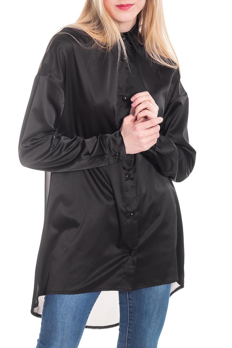 Блузка - рубашкаБлузки<br>Блузка, выполненная с элементами рубашки - это незаменимый базовый элемент гардероба, который должен быть у каждой женщины. Она легко впишется в любой стиль и внесет особый шарм в Ваш образ.  Блуза - рубашка прямого силуэта с центральной застежкой на пуговицы с планкой. На спинке кокетка, нижняя часть из шифона. Воротник стояче-отложной. Рукав рубашечный, со спущенной линией плеча, длинный, с притачной манжетой с застежкой на пуговицу.  Цвет: черный.  Длина рукава (от конечной плечевой точки) - 63 ± 1 см  Рост девушки-фотомодели 168 см  Длина изделия - 86 ± 2 см<br><br>Воротник: Рубашечный,Стояче-отложной<br>Застежка: С пуговицами<br>По материалу: Атлас,Шифон<br>По образу: Город,Клуб,Офис,Свидание<br>По рисунку: Однотонные<br>По сезону: Весна,Зима,Лето,Осень,Всесезон<br>По силуэту: Прямые<br>По стилю: Кэжуал,Молодежный стиль,Нарядный стиль,Офисный стиль,Повседневный стиль,Романтический стиль,Ультрамодный стиль<br>По элементам: С воротником,С декором,С манжетами,С отделочной фурнитурой,С открытой спиной,С фигурным низом<br>Рукав: Длинный рукав<br>Размер : 40,42,44,46,48,50,52<br>Материал: Атлас + Шифон<br>Количество в наличии: 23
