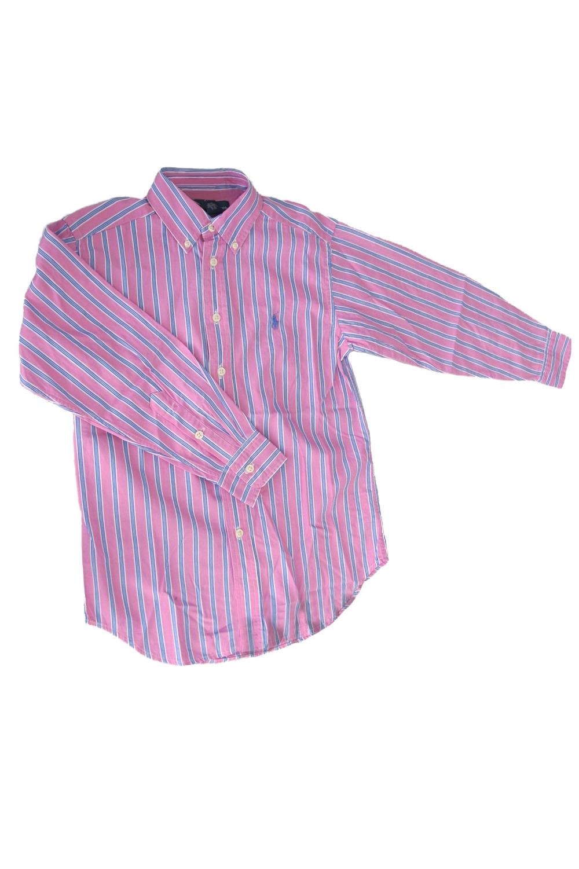 РубашкаРубашки<br>Хлопковая рубашка для мальчика  Цвет: розовый, серый  Размер 74 соответствует росту 70-73 см Размер 80 соответствует росту 74-80 см Размер 86 соответствует росту 81-86 см Размер 92 соответствует росту 87-92 см Размер 98 соответствует росту 93-98 см Размер 104 соответствует росту 98-104 см Размер 110 соответствует росту 105-110 см Размер 116 соответствует росту 111-116 см Размер 122 соответствует росту 117-122 см Размер 128 соответствует росту 123-128 см Размер 134 соответствует росту 129-134 см Размер 140 соответствует росту 135-140 см Размер 146 соответствует росту 141-146 см Размер 152 соответствует росту 147-152 см<br><br>Воротник: Рубашечный<br>По возрасту: Дошкольные ( от 3 до 7 лет),Школьные ( от 7 до 13 лет)<br>По материалу: Хлопковые<br>По образу: Повседневные<br>По рисунку: В полоску<br>По сезону: Весна,Зима,Лето,Осень,Всесезон<br>По стилю: Повседневные<br>По элементам: На пуговках<br>Рукав: Длинный рукав,С пуговицами<br>Размер : 122,128<br>Материал: Хлопок<br>Количество в наличии: 2