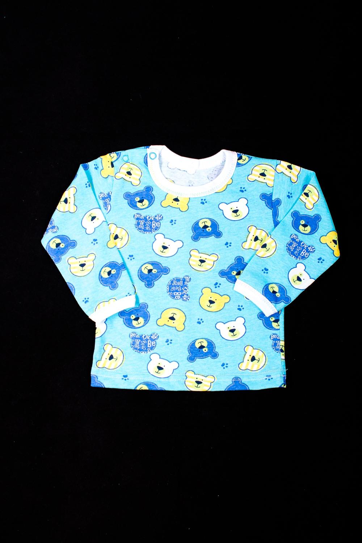 ФутболкаКофточки<br>Хлопковая футболка для новорожденного  В изделии использованы цвета: бирюзовый и др.  Размер соответствует росту ребенка<br><br>По возрасту: Ясельные ( от 1 до 3 лет)<br>По материалу: Хлопковые<br>По образу: Повседневные<br>По рисунку: С принтом (печатью),Цветные<br>По сезону: Весна,Зима,Лето,Осень,Всесезон<br>По силуэту: Полуприталенные<br>По стилю: Повседневные<br>Размер : 68,80,86<br>Материал: Хлопок<br>Количество в наличии: 5