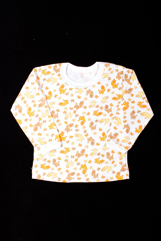 ФутболкаКофточки<br>Хлопковая футболка для новорожденного  В изделии использованы цвета: белый, оранжевый  Размер соответствует росту ребенка<br><br>Горловина: С- горловина<br>По возрасту: Ясельные ( от 1 до 3 лет)<br>По материалу: Хлопковые<br>По образу: Повседневные<br>По рисунку: С принтом (печатью),Цветные<br>По сезону: Весна,Осень,Всесезон<br>По силуэту: Полуприталенные<br>По стилю: Повседневные<br>Рукав: Длинный рукав<br>Размер : 68,74,86<br>Материал: Хлопок<br>Количество в наличии: 6