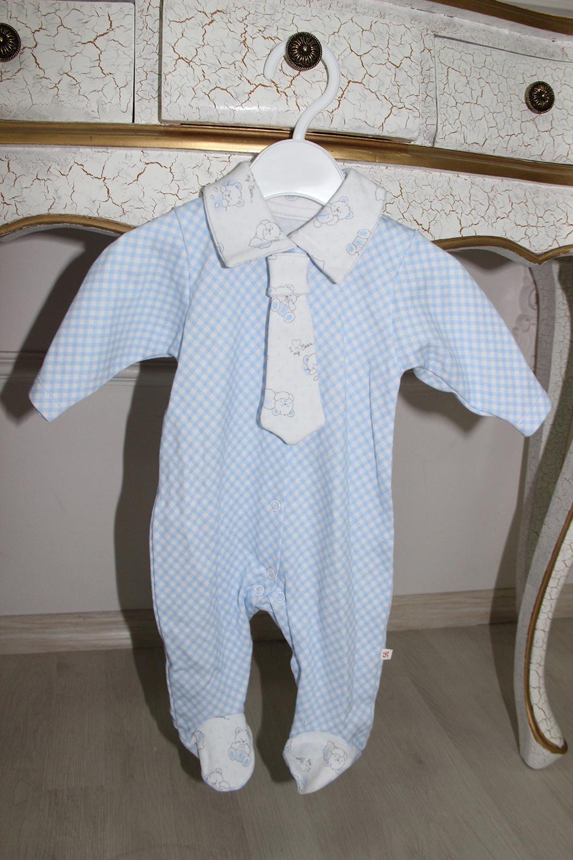 КомбинезонКомбинезончики<br>Трикотажный комбинезон с имитацией галстука.  В изделии использованы цвета: голубой, белый.  Размер соответствует росту ребенка.<br><br>По сезону: Всесезон<br>Размер : 56,62,68<br>Материал: Трикотаж<br>Количество в наличии: 3