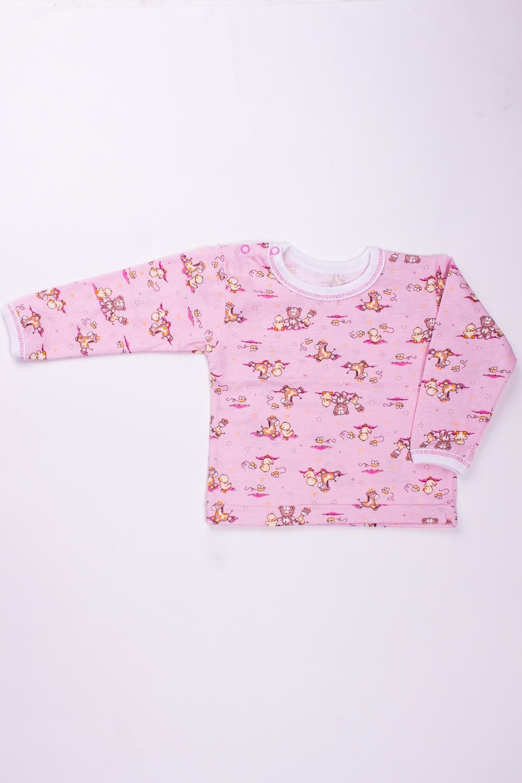 ФутболкаКофточки<br>Повседневная хлопковая футболка с длинным рукавом. Изделие с округлой горловиной.  Цвет: розовый.  Размер соответствует росту ребенка.<br><br>Горловина: С- горловина<br>По возрасту: Ясельные ( от 1 до 3 лет)<br>По материалу: Хлопковые<br>По образу: Повседневные<br>По рисунку: С принтом (печатью),Цветные<br>По сезону: Весна,Осень,Всесезон<br>По силуэту: Полуприталенные<br>По стилю: Повседневные<br>Рукав: Длинный рукав<br>Размер : 68,74,80,86<br>Материал: Хлопок<br>Количество в наличии: 8