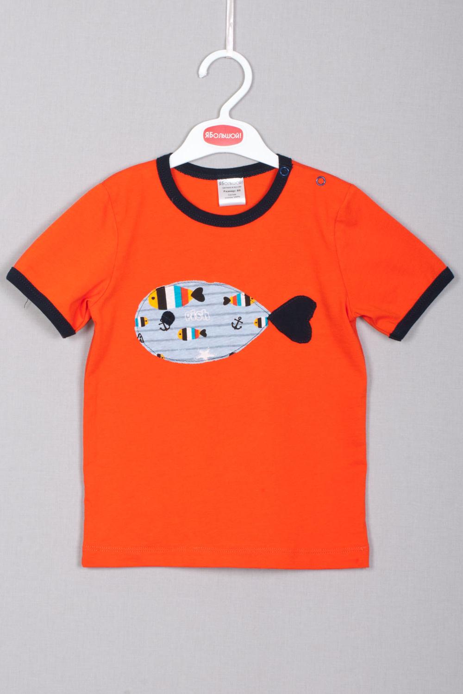 ФутболкаФутболки<br>Футболка с коротким рукавом с застежкой на кнопочки на плечике, украшена аппликацией.  Цвет: оранжевый и др.  Размер соответствует росту ребенка<br><br>Горловина: С- горловина<br>По материалу: Трикотажные,Хлопковые<br>По образу: Повседневные<br>По рисунку: С принтом (печатью),Цветные<br>По сезону: Весна,Зима,Лето,Осень,Всесезон<br>По силуэту: Полуприталенные<br>По стилю: Повседневные<br>По возрасту: Ясельные ( от 1 до 3 лет)<br>Размер : 74,80,86<br>Материал: Трикотаж<br>Количество в наличии: 6