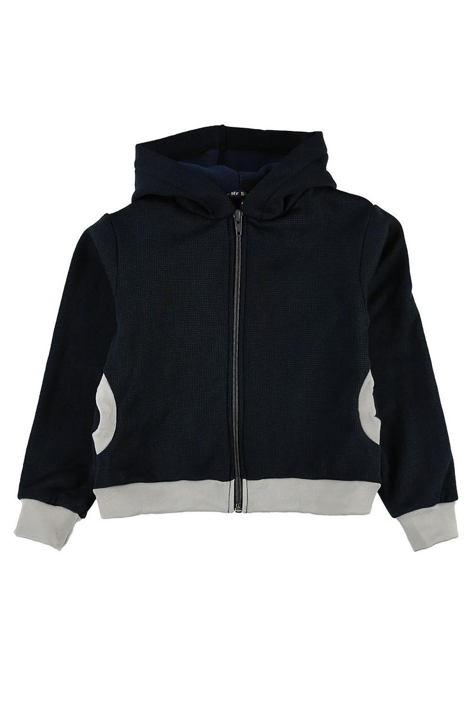 КофтаКофты<br>Куртка с капюшоном и двумя карманами по бокам.  Куртка из американской ткани Polar-stretch-Wind Pro защитит вашего ребенка от холода и непогоды. Материал, благодаря специальным волокнам и плотной конструкции внешней поверхности с вплавленным полимером, в 4 раза лучше защищает от ветра, чем традиционный флис,футер , джинс. При этом, за счет отсутствия мембраны, материал обладает высокой паропропускаемостью. Мягкий внутренний слой отводит наружу избыточную влагу тела. Обладает дополнительно водоотталкивающими свойствами.  Polar Stretch-SH WP (WindPro)  Материал имеет две различные поверхности: - верхняя - гладкая нейлоновая,износоустойчивая. - внутренняя - мягкая из полиэстера. Технические характеристики: - высокая воздухопроницаемость - высокая износоустойчивость - максимальное тепло при небольшом весе - защита о ветра - водоотталкивающая поверхность  Цвет: синий, серый  Размер 74 соответствует росту 70-73 см Размер 80 соответствует росту 74-80 см Размер 86 соответствует росту 81-86 см Размер 92 соответствует росту 87-92 см Размер 98 соответствует росту 93-98 см Размер 104 соответствует росту 98-104 см Размер 110 соответствует росту 105-110 см Размер 116 соответствует росту 111-116 см Размер 122 соответствует росту 117-122 см Размер 128 соответствует росту 123-128 см Размер 134 соответствует росту 129-134 см Размер 140 соответствует росту 135-140 см Размер 146 соответствует росту 141-146 см<br><br>По длине: Удлиненные<br>По материалу: Трикотажные<br>По образу: Повседневные,Уличные<br>По рисунку: Цветные<br>По силуэту: Полуприталенные<br>По элементам: С карманами,С молнией<br>Рукав: Длинный рукав,С манжетами<br>По сезону: Осень,Весна<br>По возрасту: Дошкольные ( от 3 до 7 лет),Школьные ( от 7 до 13 лет)<br>Размер : 116,122,128,134<br>Материал: Трикотаж<br>Количество в наличии: 5