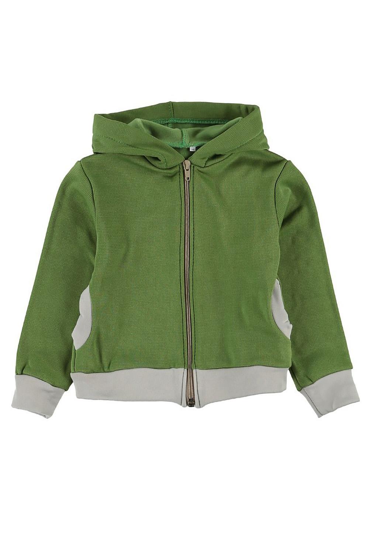 КофтаКофты<br>Куртка с капюшоном и двумя карманами по бокам.  Куртка из американской ткани Polar-stretch-Wind Pro защитит вашего ребенка от холода и непогоды. Материал, благодаря специальным волокнам и плотной конструкции внешней поверхности с вплавленным полимером, в 4 раза лучше защищает от ветра, чем традиционный флис,футер , джинс. При этом, за счет отсутствия мембраны, материал обладает высокой паропропускаемостью. Мягкий внутренний слой отводит наружу избыточную влагу тела. Обладает дополнительно водоотталкивающими свойствами.  Polar Stretch-SH WP (WindPro)  Материал имеет две различные поверхности: - верхняя - гладкая нейлоновая,износоустойчивая. - внутренняя - мягкая из полиэстера. Технические характеристики: - высокая воздухопроницаемость - высокая износоустойчивость - максимальное тепло при небольшом весе - защита о ветра - водоотталкивающая поверхность  Цвет: зеленый, серый  Размер 74 соответствует росту 70-73 см Размер 80 соответствует росту 74-80 см Размер 86 соответствует росту 81-86 см Размер 92 соответствует росту 87-92 см Размер 98 соответствует росту 93-98 см Размер 104 соответствует росту 98-104 см Размер 110 соответствует росту 105-110 см Размер 116 соответствует росту 111-116 см Размер 122 соответствует росту 117-122 см Размер 128 соответствует росту 123-128 см Размер 134 соответствует росту 129-134 см Размер 140 соответствует росту 135-140 см Размер 146 соответствует росту 141-146 см<br><br>Горловина: Капюшон<br>По длине: Удлиненные<br>По материалу: Трикотажные<br>По образу: Повседневные,Уличные<br>По рисунку: Цветные<br>По силуэту: Полуприталенные<br>По элементам: С карманами,С молнией<br>Рукав: Длинный рукав,С манжетами<br>По сезону: Осень,Весна<br>По возрасту: Дошкольные ( от 3 до 7 лет),Школьные ( от 7 до 13 лет)<br>Размер : 116,122,128,134<br>Материал: Трикотаж<br>Количество в наличии: 4
