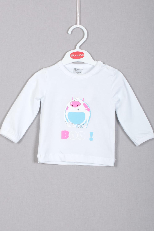 ФутболкаДжемперы<br>Футболка с длинным рукавом и удобной застежкой на кнопочках на плечике. Украшена весёлым принтом на полочке, выполненным методом шелкографии.  В изделии использовались цвета: белый, голубой, розовый.  Размер соответствует росту ребенка<br><br>Горловина: С- горловина<br>По материалу: Трикотажные<br>По образу: Повседневные,Уличные<br>По рисунку: Однотонные,С принтом (печатью),Цветные<br>По сезону: Весна,Зима,Осень,Всесезон<br>По силуэту: Полуприталенные<br>По стилю: Повседневные<br>Рукав: Длинный рукав<br>По возрасту: Ясельные ( от 1 до 3 лет)<br>Размер : 80,86,92<br>Материал: Трикотаж<br>Количество в наличии: 4