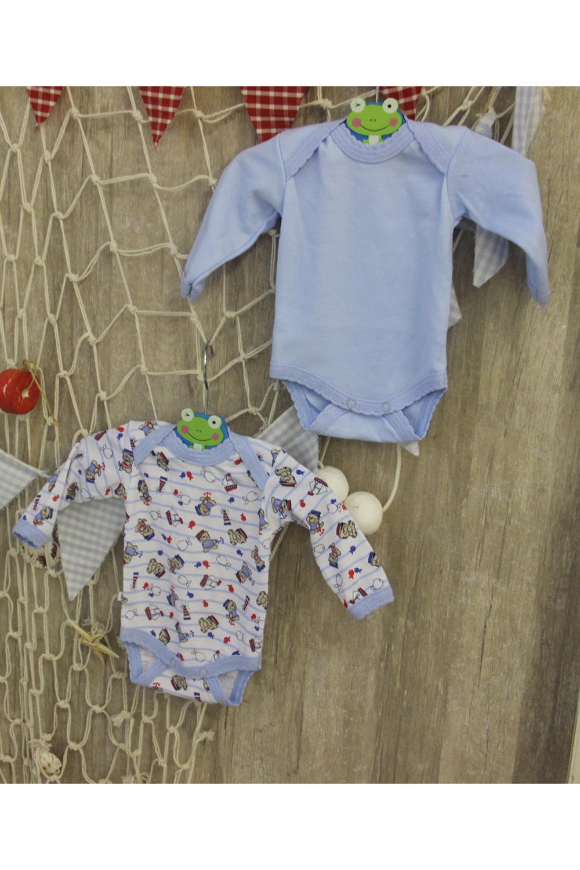 БодиКофточки<br>Трикотажное боди с длинными рукавами для новорожденного. В комплекте 2шт. разного цвета, одного размера.  В изделии использованы цвета: голубой, белый и др.  Размер соответствует росту ребенка.<br><br>По сезону: Всесезон<br>Размер : 56,62,68<br>Материал: Трикотаж<br>Количество в наличии: 3