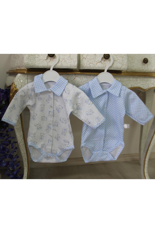 БодиКофточки<br>Трикотажное боди с длинными рукавами для новорожденного. В комплекте 2шт. разного цвета, одного размера.  В изделии использованы цвета: голубой, белый и др.  Размер соответствует росту ребенка.<br><br>По сезону: Всесезон<br>Размер : 56,62<br>Материал: Трикотаж<br>Количество в наличии: 2