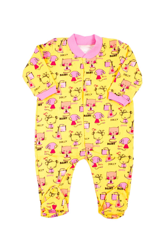 КомбинезонКомбинезоны<br>Хлопковый комбинезон для девочки.  В изделии использованы цвета: желтый, розовый и др.<br><br>Горловина: V- горловина<br>По возрасту: Ясельные ( от 1 до 3 лет)<br>По материалу: Хлопковые<br>По образу: Повседневные<br>По рисунку: С принтом (печатью),Цветные<br>По сезону: Зима,Осень,Весна<br>По силуэту: Полуприталенные<br>По стилю: Повседневные<br>Размер : 74<br>Материал: Хлопок<br>Количество в наличии: 1